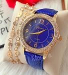 Ceas dama elegant albastru cu pietricele si curea din piele ECO