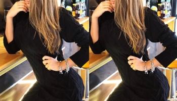 Rochie de zi ieftina din tricot neagra cu maneca lunga si model impletit