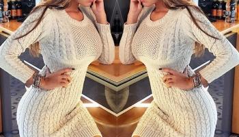 Rochie casual din tricot crem cu impletituri