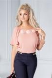 Bluza LaDonna roz prafuit cu flori 3D la guler
