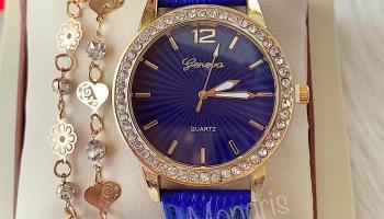 Ceas dama de mana albastru cu pietricele si curea din piele ECO