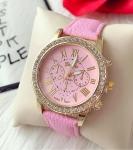 Ceas dama elegant roz cu pietricele si curea din piele ECO