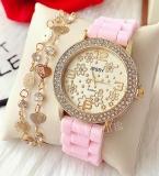 Ceas dama roz cu inscriptii aurii din silicon antialergic cu pietricele