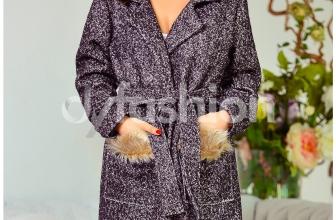 Palton Augustina Gri cu Blanita, colectia 2018