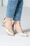 Pantofi dama albi cu imprimeuri