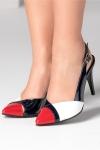 Pantofi dama bleumarin decupati cu model rosu si alb