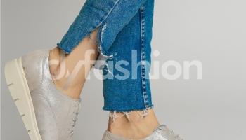 Pantofi Oxford Argintii Casual cu Sireturi si Talpa Joasa, colectia 2018