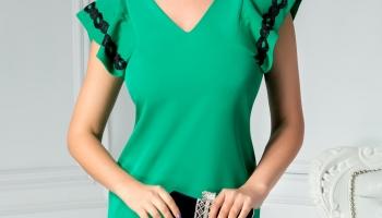 Rochie Moze Marisol verde larga cu broderie la maneci
