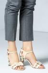 Sandale dama crem cu imprimeuri florale